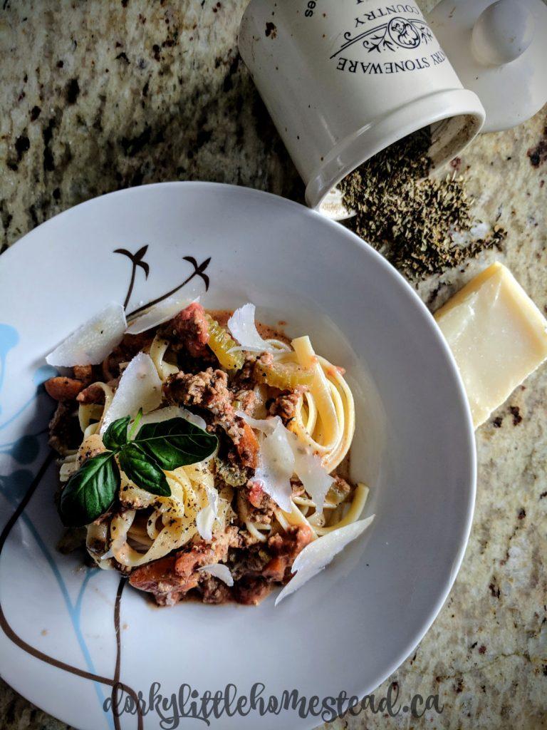 A plate of fettucine Bolognese