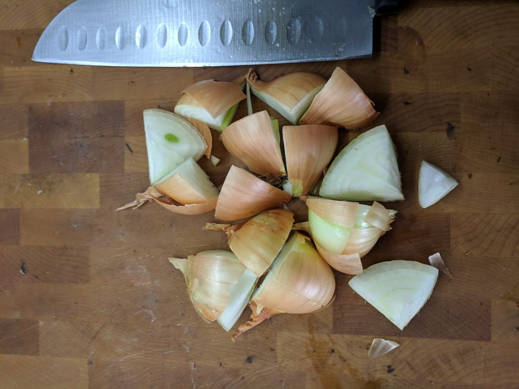chopped onion for stock