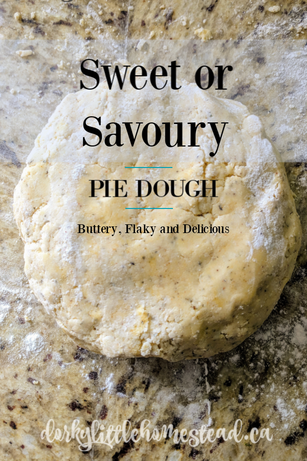 A Sweet or Savoury Pie Dough, is something that everyone should have a good recipe for. This one is simple and easy to adapt to any recipe.