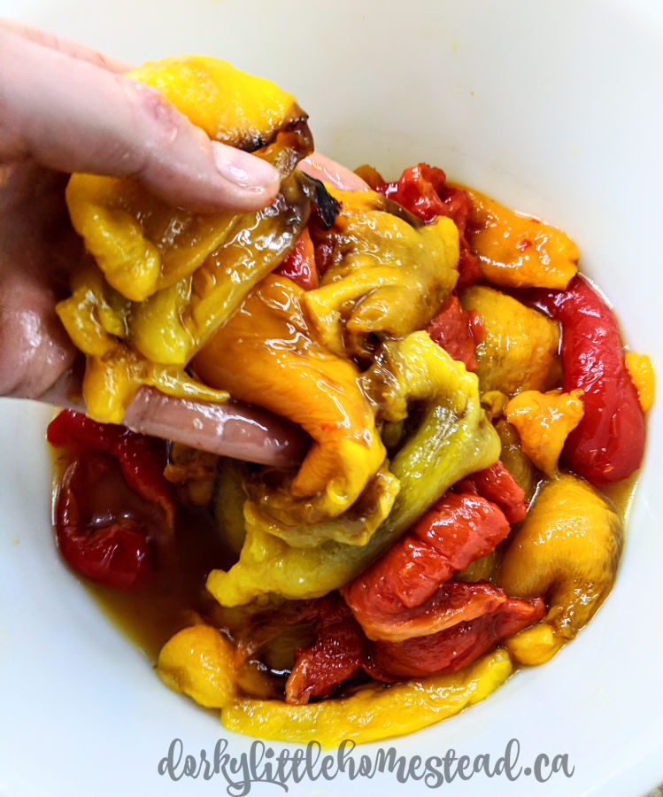 Roasted and peeled peppers ready to use.