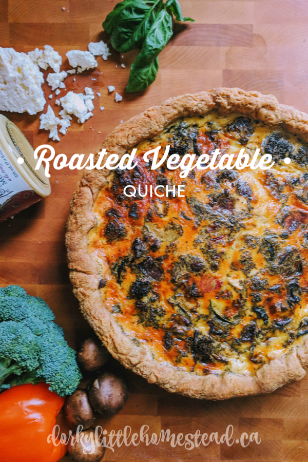 A beautiful loaded roasted vegetable quiche, in a flaky buttery crust.