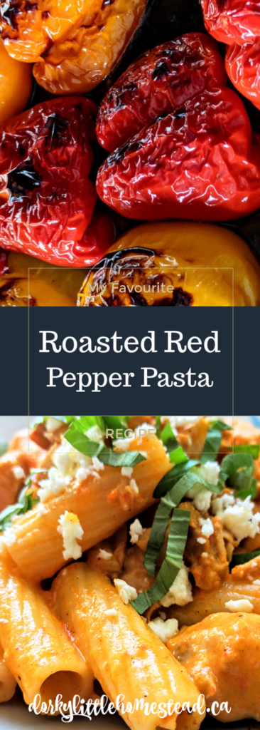 Roasted Red Pepper Pasta. Simple, creamy, and just a hint spicy. Served with feta and fresh basil, this pasta is a winner!