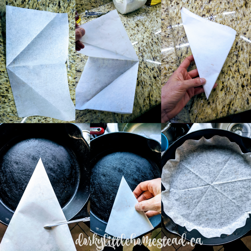 How to fold a circle of parchment paper.