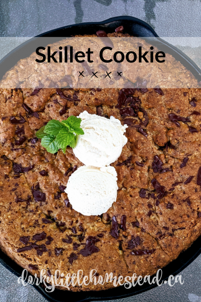 A huge chocolate and caramel filled cookie baked in a cast iron skillet. There is really nothing better than childhood favourites made giant.
