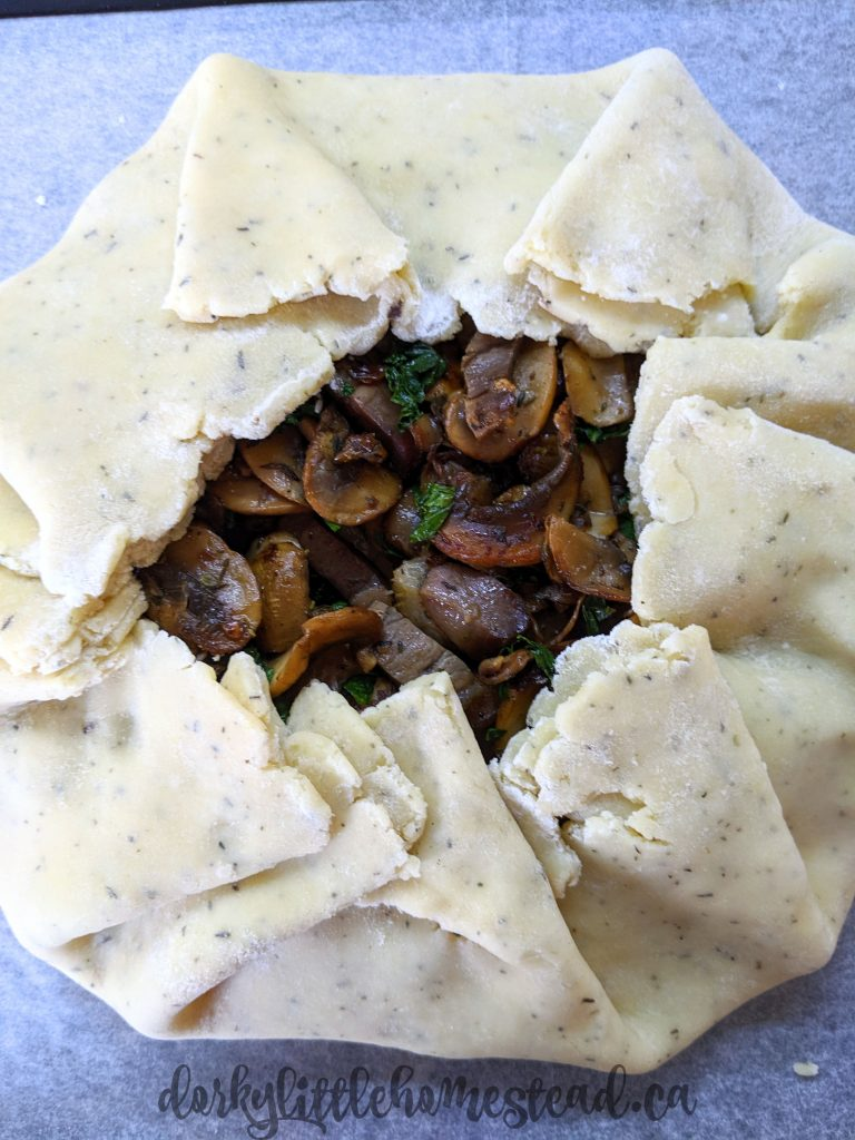 Fold the edges of your gallette dough up and around the sides, in a very rustic folding/pleated style.