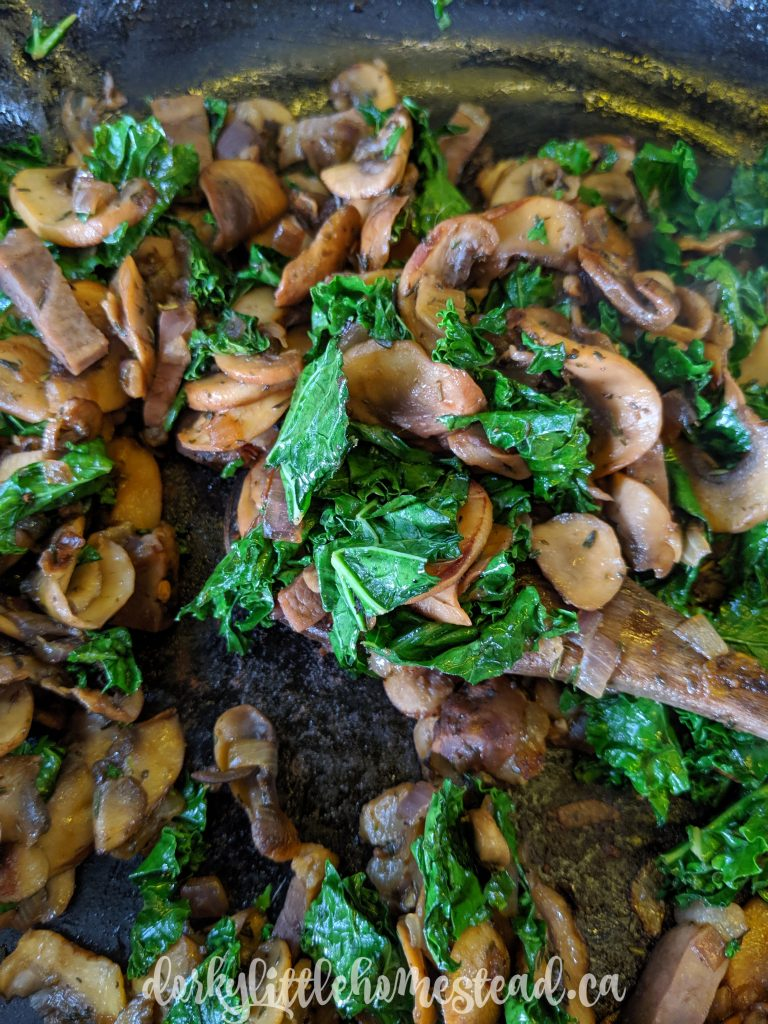 Mushroom and kale gallette filling.
