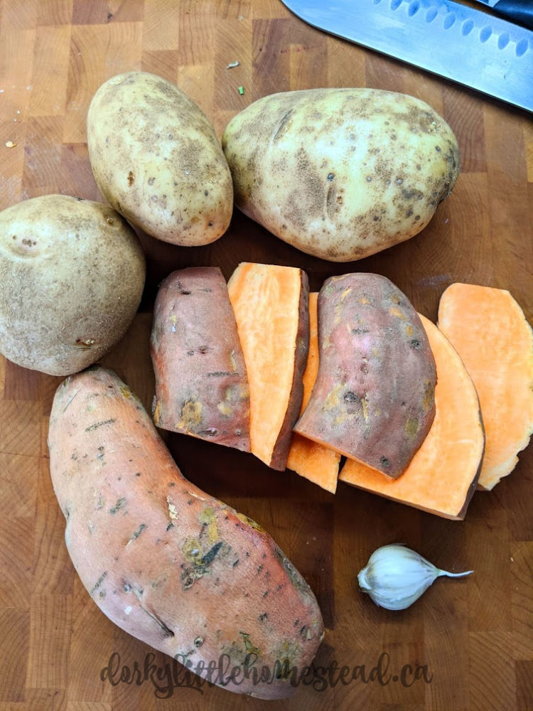 Potatoes and sweet potatoes for breakfast!