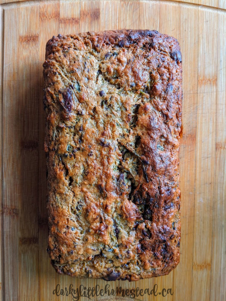 Chocolate chip filled zucchini bread.