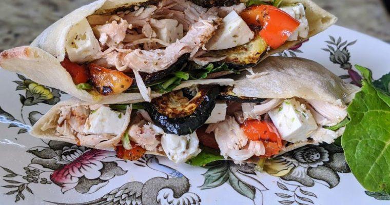 Roasted Veggie & Chicken Pita