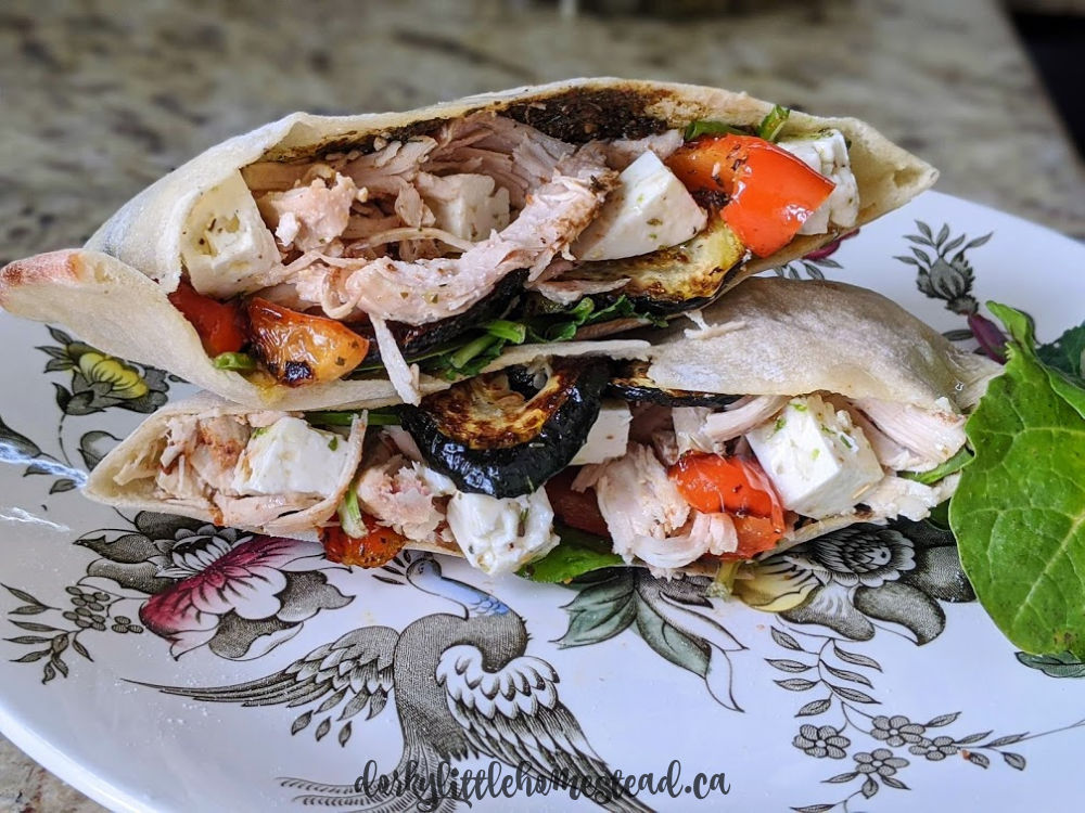Roasted Veggie & Chicken Pita