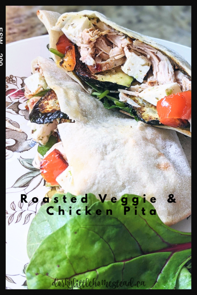 A hearty and delicious pita stuffed with veggies, chicken, pesto and hummus. A great spring and summer recipes.