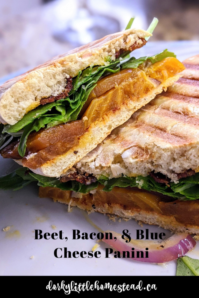 This panini is the perfect vessel for the decadent combo of beets, blue cheese, and bacon. Yum!