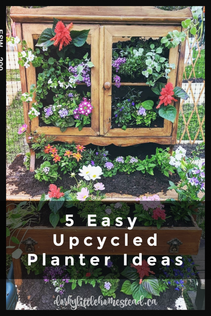 It's gardening season! Here's my list of 5 Upcycled Planters, made of things you might have around your house already.