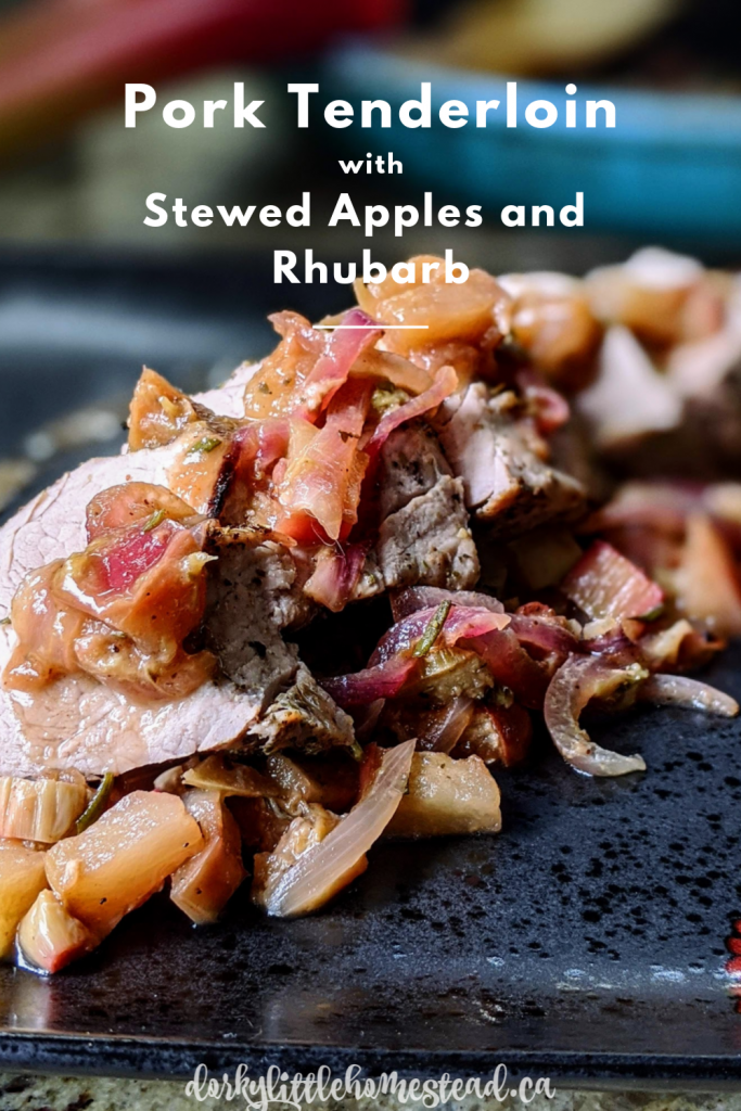 Rhubarb and apples in a rich sauce accompany local pork tenderloin for a perfect spring dinner.