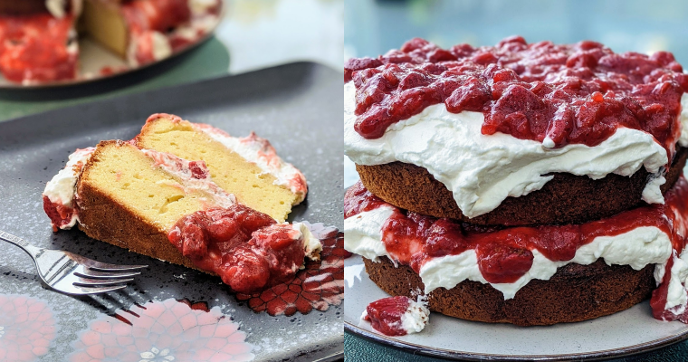 Lemon Pound Cake with Strawberry and Rhubarb Compote