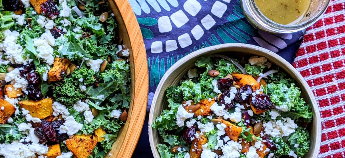 Kale & Pumpkin Salad with Cider Herb Dressing