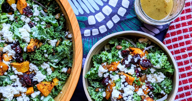 Kale & Pumpkin Salad with Cider Herb Dressing
