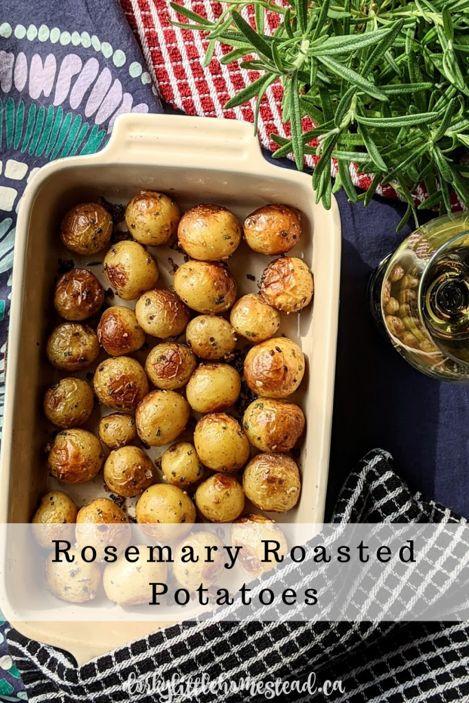 Simple delicious, garlicky, Rosemary Roasted Potatoes make the perfect side dish for a Two Person Thanksgiving meal.