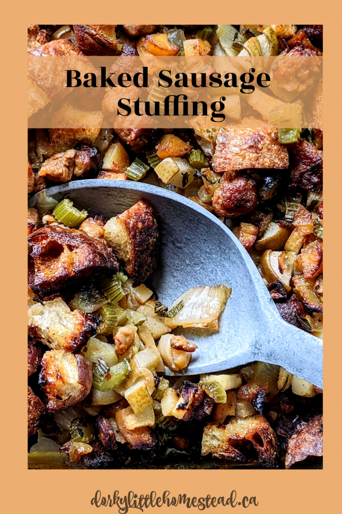 A rich, baked sausage stuffing for a Thanksgiving without a turkey. Full of harvest flavours, and perfect for your Two Person menu.