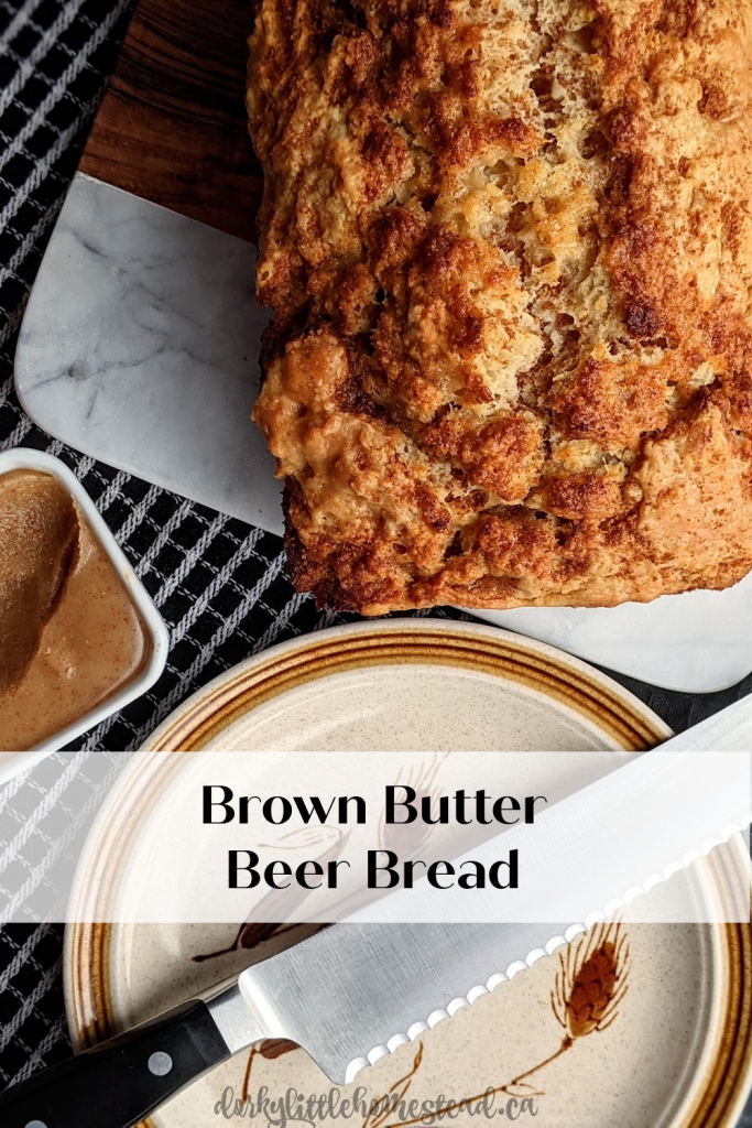 Brown Butter Beer Bread with a crumbly top. Perfect balance of sweet and savoury, buttery and soft. Full of brown buttery goodness.