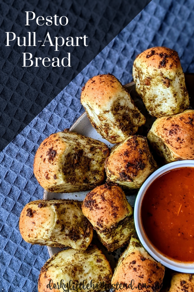 Pesto Pull Apart Bread, perfect for sharing with your quarantine bubble. Soft and Fluffy, and full of pesto flavour.
