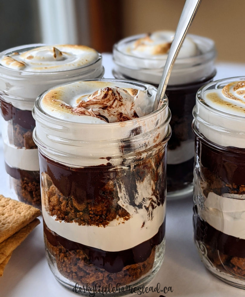 Peppermint s'mores jars