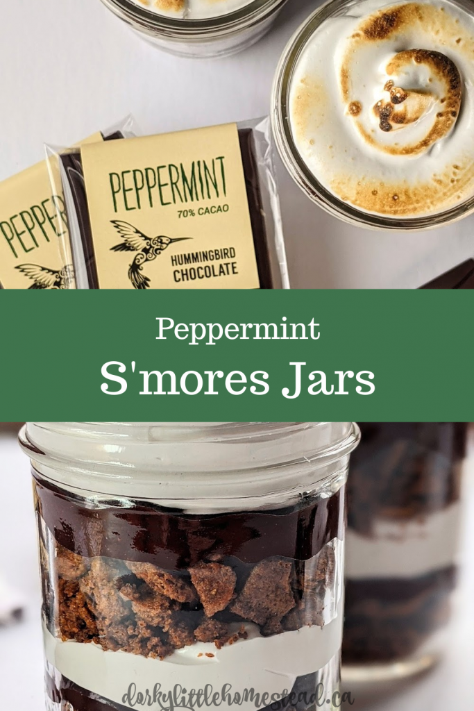 Cold weather means a new twist on a classic. S'mores Jars! Layers of gooey marshmallow, peppermint chocolate and graham crumble.