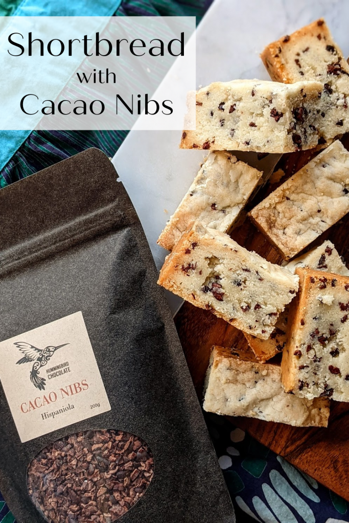Buttery Shortbread cookies, dotted with chocolate cacao nibs from Hummingbird Chocolate. These are perfect alongside a tea or coffee.