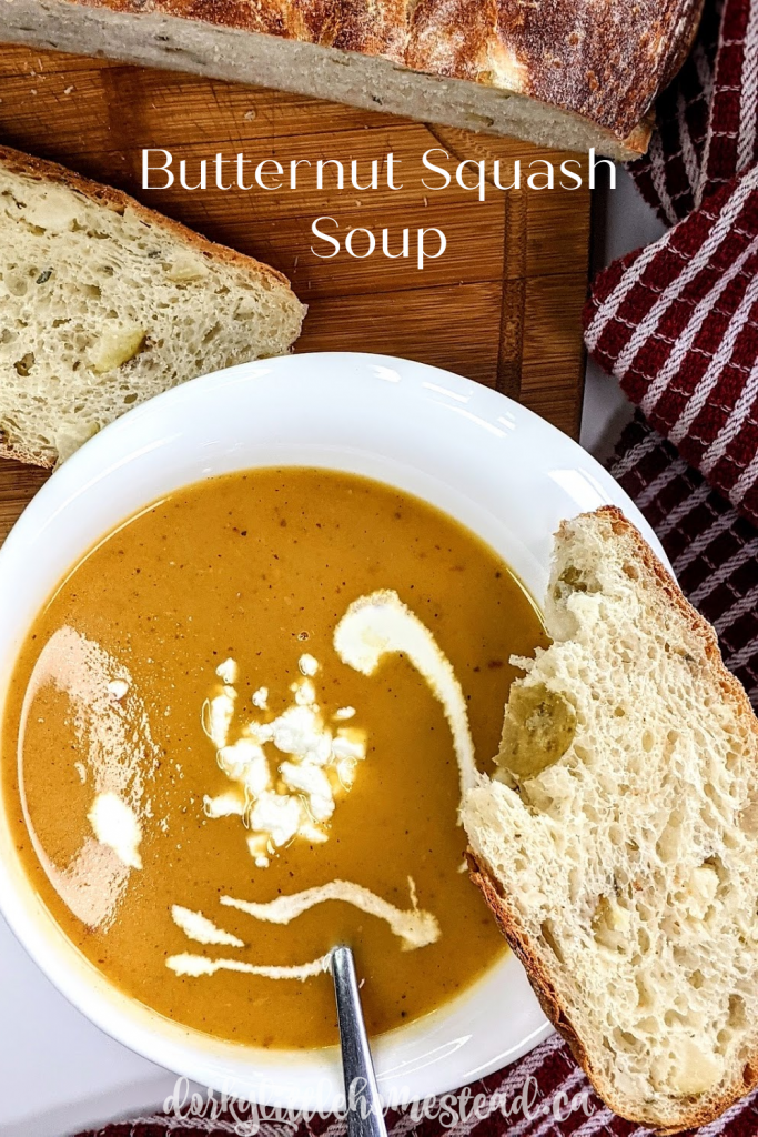 Butternut Squash Soup is one of my favourite winter soups. It's a lovely combo of sweet, savoury, and a little bit spicy. Stay warm!