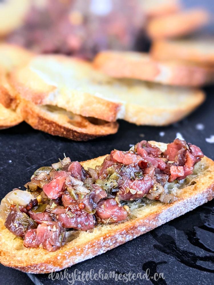 steak tartare on a baguette