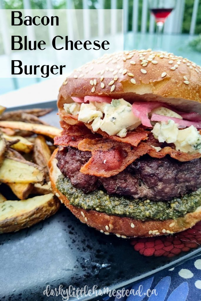 Take your burger game up a notch with these very classy Bacon Blue Cheese Burgers. Pickled red onions, creamy blue cheese, and crisp bacon perfectly compliment a big juicy burger.